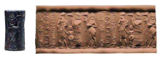 """Sigillo cilindrico paleobabilonese con iscrizione in cuneiforme e raffigurazioni: al centro la cosiddetta """"dea nuda"""" e a fianco """"l'uomo-toro"""""""