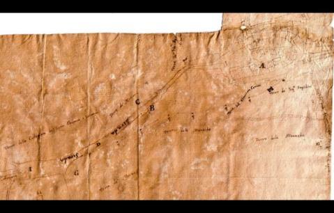 Il foglio su cui don Francesco Menicucci tracciò la sua ipotesi di tracciato dell'antico acquedotto romano di Cupramontana