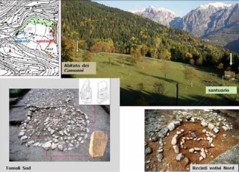 Un mosaico di immagini con il paesaggio in cui è stato fondato il santuario megalitico di Pat e dettagli dei circoli votivi a nord e dei tumuli a sud