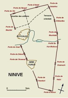 La pianta del sito archeologico dell'antica Ninive