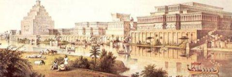 La ricostruzione di Ninive in una stampa antica dà un'idea della magnificenza della capitale assira