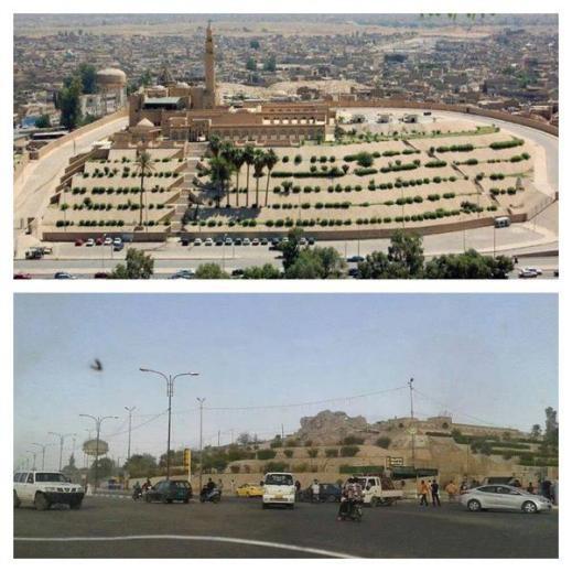 La collina del profeta Giona (tell Nabi Younis) con la moschea prima e dopo il passaggio dell'Isis