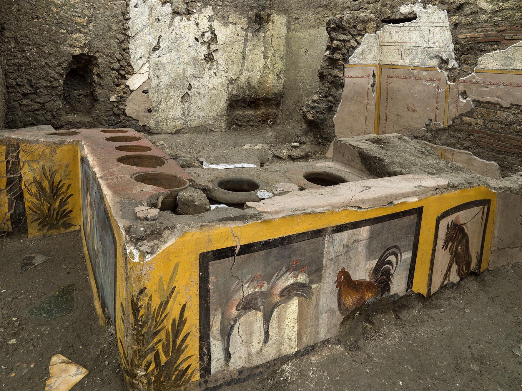 pompei_Termopolio Regio V 07_decorazione-con-anatre-e-pollame_foto-luigi-spina