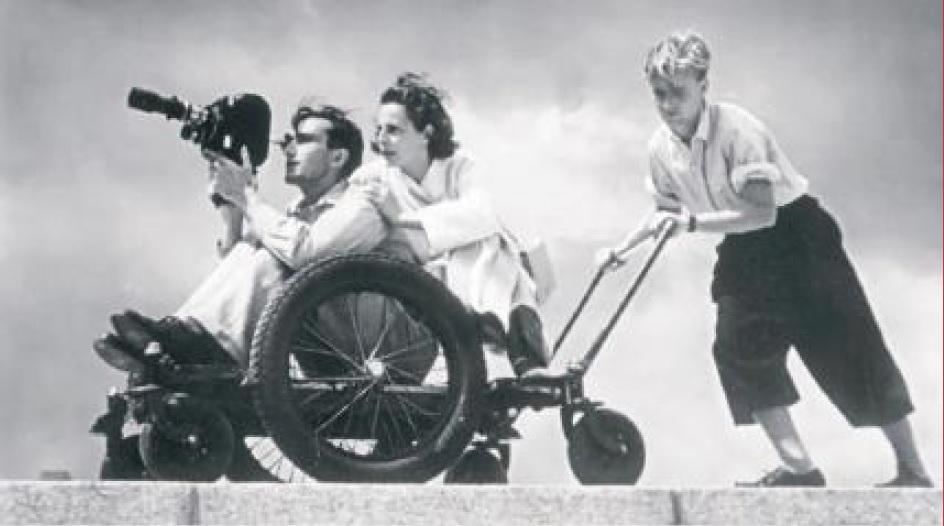 Leni Riefenstahl durante le riprese di Olympia_foto-Bundesarchiv